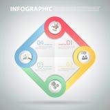 Infographic Schablone des Designs kann für Arbeitsfluß, Plan, Diagramm verwendet werden Lizenzfreie Stockfotografie