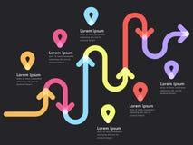 Infographic Schablone des Fahrwegstandorts mit einem phasenweisen Struktur- und Stiftzeiger Stockfotografie