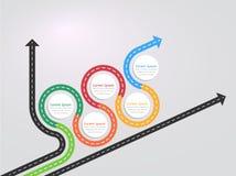 Infographic Schablone des Fahrwegstandorts mit einer phasenweisen Struktur Stockbild