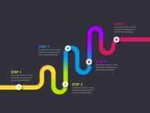 Infographic Schablone des Fahrwegstandorts mit einer phasenweisen Struktur Lizenzfreie Stockfotografie