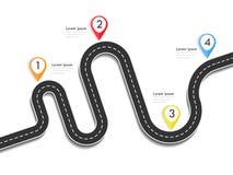 Infographic Schablone des Fahrwegstandorts mit Stiftzeiger Stockfoto