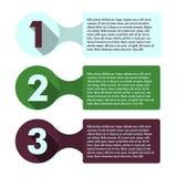 Infographic Schablone des Fortschritts mit drei Schritten Stockbild