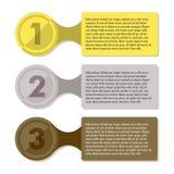 Infographic Schablone des Fortschritts mit drei Schritten Lizenzfreies Stockfoto
