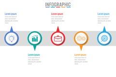 Infographic Schablone des Geschäfts mit 5 Wahlen, abstrakte Elemente Lizenzfreie Stockfotografie