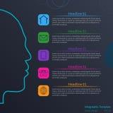 Infographic Schablone des Vektors mit Gesicht Lizenzfreies Stockbild