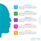 Infographic Schablone des Vektors mit Gesicht Stockfotografie