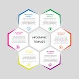 Infographic Schablone des Vektors mit Hexagonen mit Text Stockbild