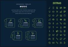 Infographic Schablone, Elemente und Ikonen der Musik Stockfotografie