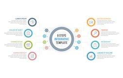 Infographic-Schablone mit acht Schritten Lizenzfreie Stockfotos