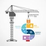 Infographic-Schablone mit BauTurmkran-Laubsägenfahne Stockfotografie