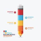 Infographic-Schablone mit Bleistiftform-Bausteinfahne Lizenzfreie Stockbilder