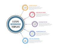 Infographic-Schablone mit fünf Schritten Lizenzfreies Stockbild