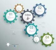 Infographic-Schablone mit Gängen, Schablone für Geschäft Stockfoto
