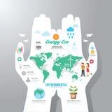 Infographic-Schablone mit Handpapierfahne Tag der Erde Lizenzfreie Stockbilder