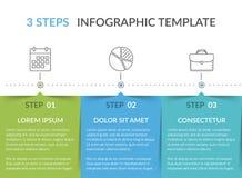 Infographic-Schablone mit 3 Schritten stock abbildung