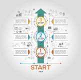 Infographic-Schablone mit Schritten Stockfoto