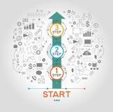 Infographic-Schablone mit Schritten Lizenzfreies Stockfoto