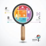 Infographic-Schablone mit Vergrößerungsglaslaubsägenfahne Lizenzfreies Stockfoto