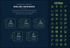 Infographic Schablone und Elemente des on-line-Geschäfts Stockfotos