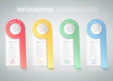 infographic Schablone von 4 Schritten kann für Arbeitsfluß, Plan, Diagramm verwendet werden Stockbilder