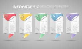 infographic Schablone von 5 Schritten kann für Arbeitsfluß, Plan, Diagramm verwendet werden Lizenzfreies Stockfoto