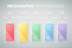 infographic Schablone von 5 Schritten kann für Arbeitsfluß, Plan, Diagramm verwendet werden Lizenzfreie Stockbilder