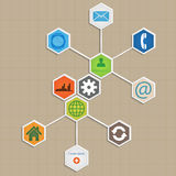 Infographic-Schablonendesign - Hexagonhintergrund. Lizenzfreies Stockbild