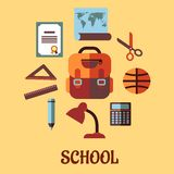 Infographic school education in flat design. Infographics school education flat design with with diploma, world map, scissors, ruler, satchel, ball, pencil, lamp Royalty Free Stock Photos