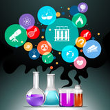 Infographic with science equipment Stock Image