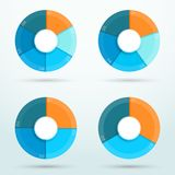 Infographic Segments Cycle Around Centre Circle A. 3d, colorful set of business circle segment infographics with blank space for text and Editable, transparent stock illustration
