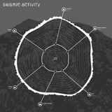 Infographic of seismic activity with mountain on background.  Royalty Free Stock Image