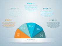 Infographic Semi Circle With Numbered Steps 1 to 5. Infographic semi circle split in to 5 3d overlapping portions, with numbers 1 to 5 on a back drop with A Royalty Free Stock Photo