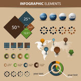 Infographic Set. Vector set of world map and information graphics elements  - Illustration in freely scalable and editable vector format Stock Photography