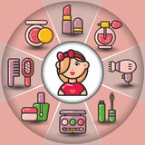 Infographic_set of beauty cosmetic icons and woman Stock Photos