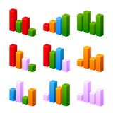 Infographic set with colorful charts. Royalty Free Stock Photo
