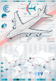 Infographic set elements with airplane. Detailed illustration of a infographic set elements with airplane in various colors Stock Photography