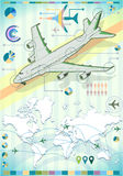 Infographic Set Elements with Airplane. Detailed illustration of a Infographic Set Elements with Airplane Royalty Free Stock Images