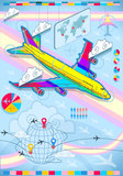 Infographic set elements with airplane in raibow. Detailed illustration of a infographic set elements with airplane in rainbow Stock Photos