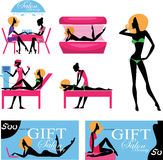 Infographic, set image silhouette woman in beauty salon, beauty industry Stock Image