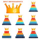 Infographic set of modern templates for 3,4,5,6,7,8,9 steps, pro royalty free illustration