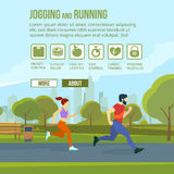 Infographic set with runners and training elements. Vector fitness man and woman Stock Photo