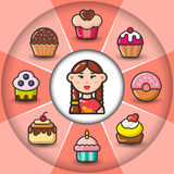 Infographic_set of sweet icons and woman Royalty Free Stock Photos