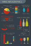 Infographic set. Wine production, making, serve and tasting. Stock Photos