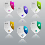 Infographic shield business concept with 6 options, parts, steps. Infographic design template and marketing icons royalty free illustration