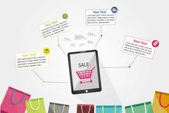 Infographic shopping Fotografering för Bildbyråer