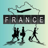 Infographic silhouette people in the airport for france flight Royalty Free Stock Photo