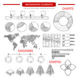 Infographic sketch graph, chart vector elements Stock Photography