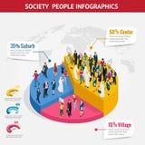 Infographic społeczeństwa isometric tło z ludźmi różni zajęcia Ludzie spotyka, dyskutujący, planujący ilustracja wektor