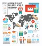 Infographic sprawozdania rocznego przemysłu Biznesowa światowa fabryka Zdjęcie Royalty Free