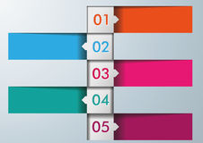 Infographic 5 Squares Background. Three colorful option squares on the white background. Eps 10  file Royalty Free Stock Image